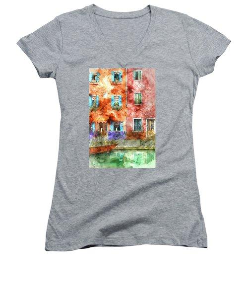 Colorful Houses In Burano Island, Venice Women's V-Neck