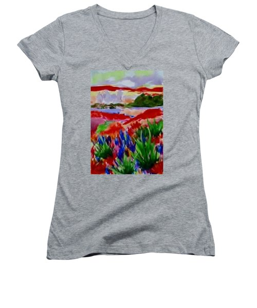 Women's V-Neck T-Shirt (Junior Cut) featuring the painting Colorful by Jamie Frier