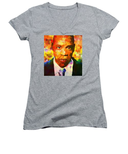 Colorful Jay Z Palette Knife Women's V-Neck T-Shirt (Junior Cut) by Dan Sproul