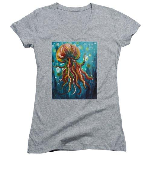 Colorful Jellyfish Women's V-Neck