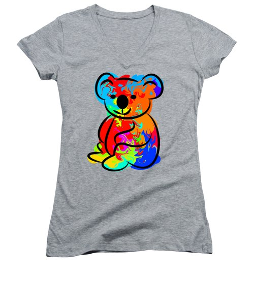 Colorful Koala Women's V-Neck T-Shirt (Junior Cut) by Chris Butler
