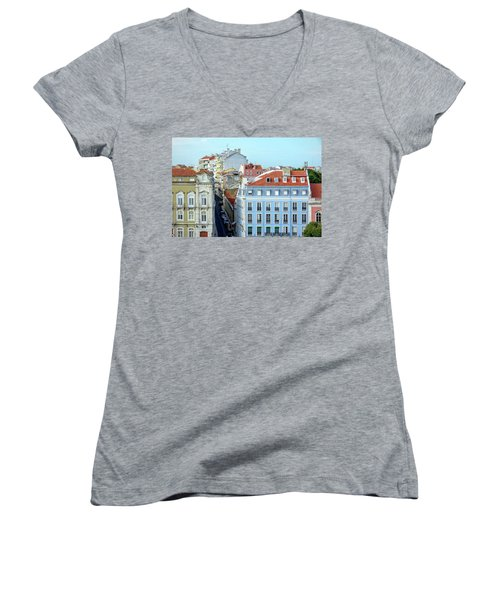 Colorful Lisbon Women's V-Neck T-Shirt (Junior Cut) by Marion McCristall