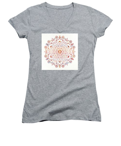 Colorful Mandala On Watercolor Paper Women's V-Neck T-Shirt (Junior Cut) by Patricia Lintner