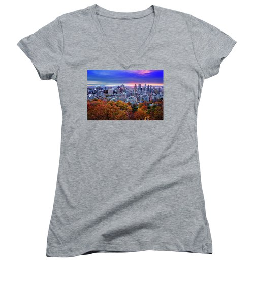 Women's V-Neck T-Shirt (Junior Cut) featuring the photograph Colorful Montreal  by Mircea Costina Photography