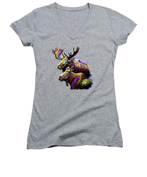 Colorful Moose Women's V-Neck T-Shirt (Junior Cut) by Anthony Mwangi