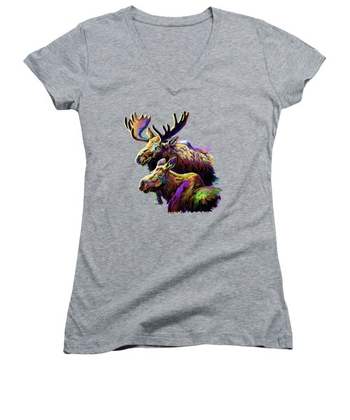 Colorful Moose Women's V-Neck T-Shirt (Junior Cut)