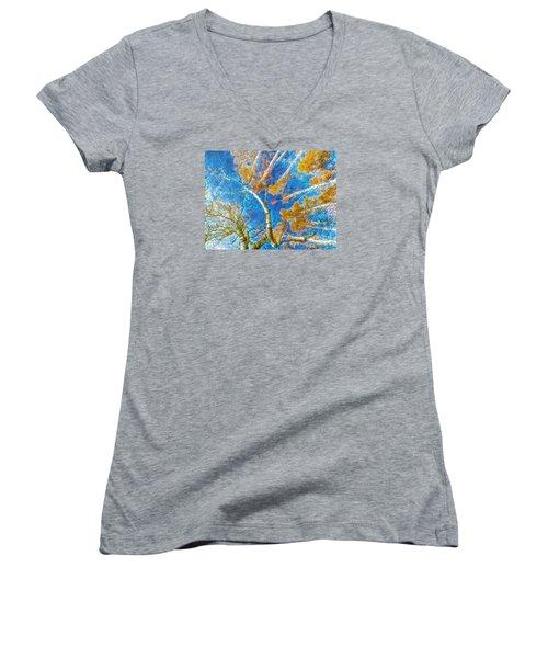 Colorful Mystical Forest Women's V-Neck T-Shirt (Junior Cut) by Odon Czintos