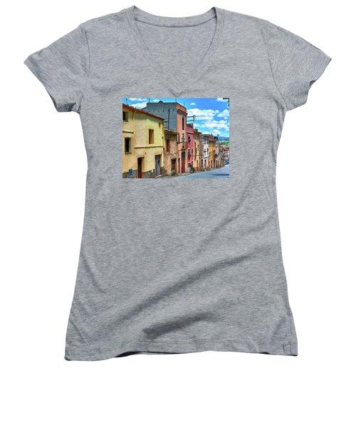 Colorful Old Houses In Tarragona Women's V-Neck