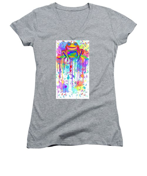 Women's V-Neck T-Shirt (Junior Cut) featuring the painting Colorful Painted Frog  by Nick Gustafson
