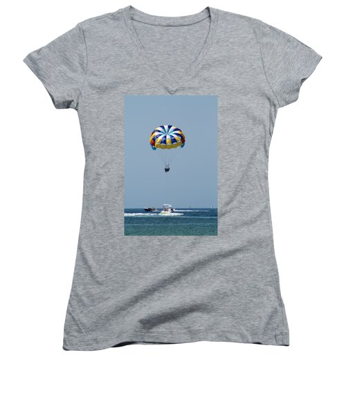 Colorful Parasailing Women's V-Neck (Athletic Fit)