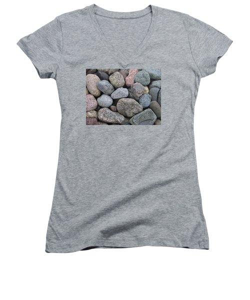 Women's V-Neck T-Shirt (Junior Cut) featuring the photograph Colorful Rocks by Richard Bryce and Family