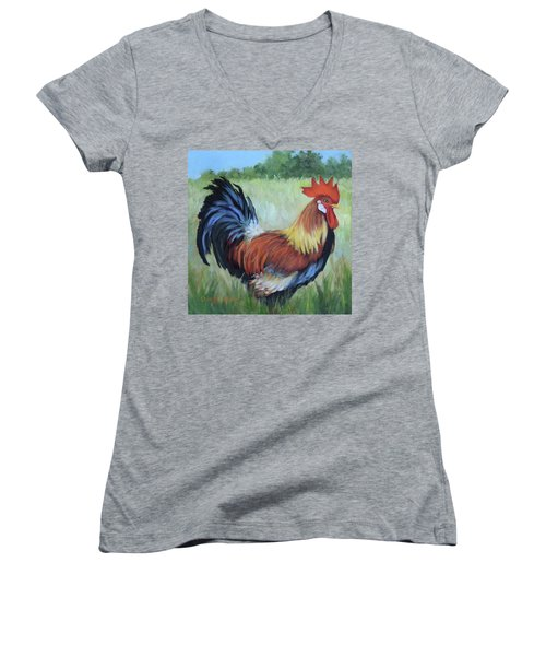 Colorful Rooster Print Women's V-Neck (Athletic Fit)