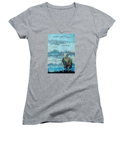 Colorful Sheep Art - Out Of The Stormy Sky Women's V-Neck T-Shirt