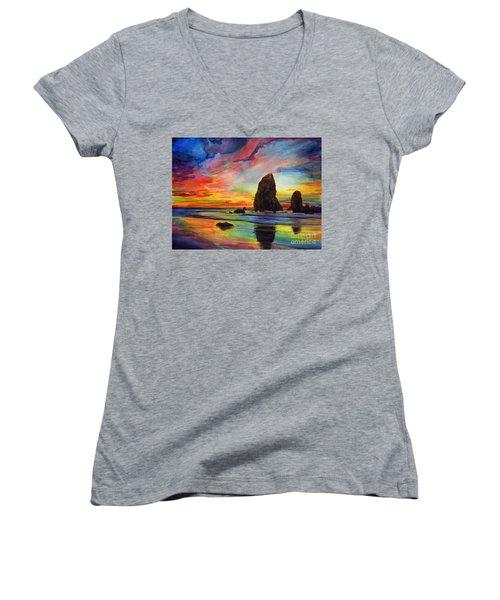 Colorful Solitude Women's V-Neck T-Shirt