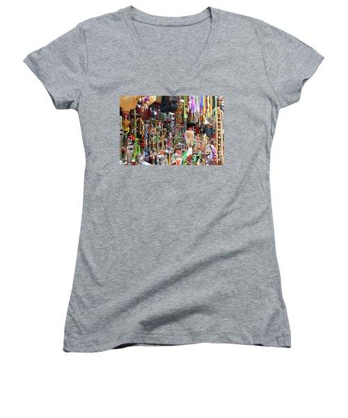 Colorful Space Women's V-Neck T-Shirt (Junior Cut) by Arik Baltinester