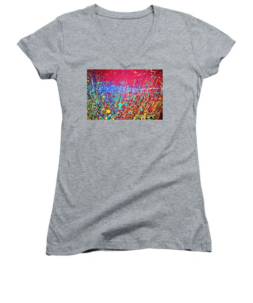 Women's V-Neck T-Shirt (Junior Cut) featuring the digital art Colorful Spring by Maja Sokolowska