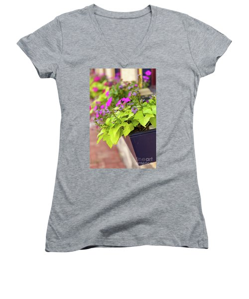 Colorful Summer Flowers In Window Box Women's V-Neck