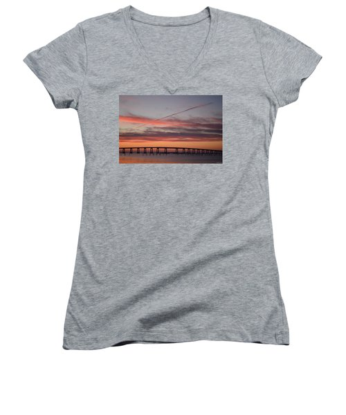 Colorful Sunrise Over Navarre Beach Bridge Women's V-Neck T-Shirt (Junior Cut) by Jeff at JSJ Photography