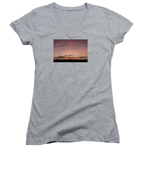 Colorful Sunset Over The Wetlands Women's V-Neck T-Shirt