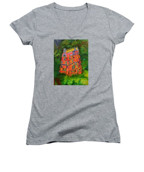 Women's V-Neck T-Shirt (Junior Cut) featuring the painting Colorful Temple Gopuram by Brindha Naveen