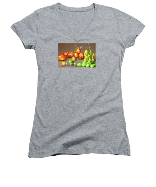 Women's V-Neck T-Shirt (Junior Cut) featuring the photograph Colorful Tomato Harvest Little People On Food by Paul Ge