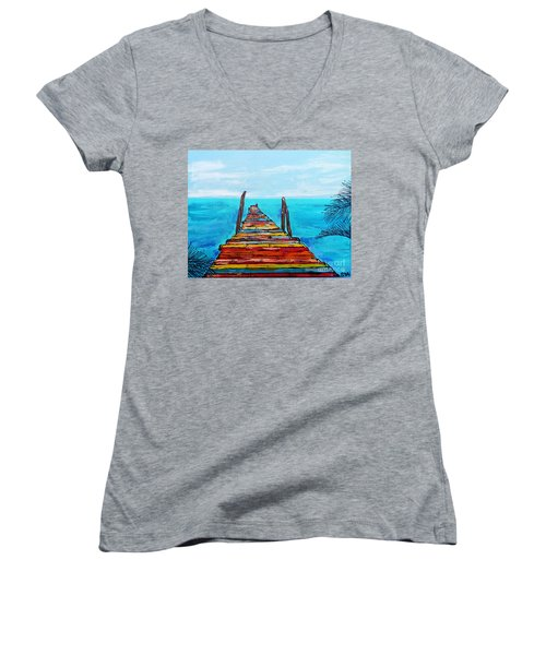 Colorful Tropical Pier Women's V-Neck T-Shirt
