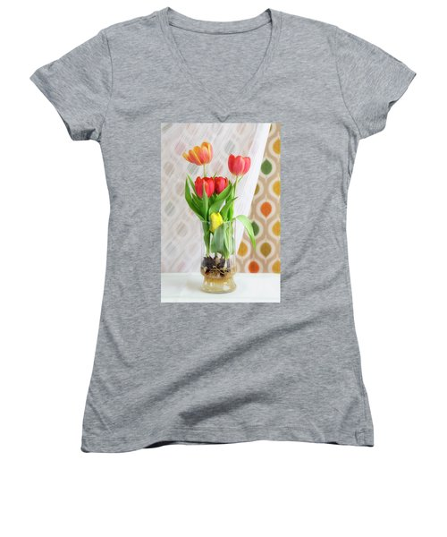 Colorful Tulips And Bulbs In Glass Vase Women's V-Neck (Athletic Fit)