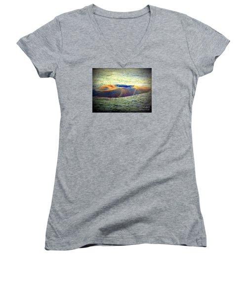 Colorful Volcanic Ash Women's V-Neck T-Shirt (Junior Cut) by John Potts