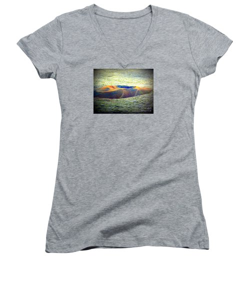 Colorful Volcanic Ash Women's V-Neck T-Shirt