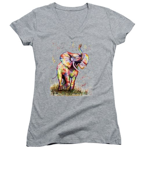 Women's V-Neck T-Shirt (Junior Cut) featuring the painting Colorful Watercolor Elephant by Georgeta Blanaru