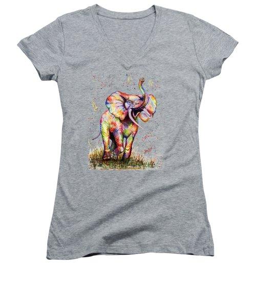 Colorful Watercolor Elephant Women's V-Neck T-Shirt
