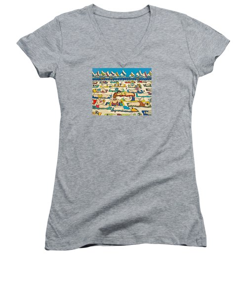 Colorful Whimsical Beach Seashore Women Men Women's V-Neck (Athletic Fit)