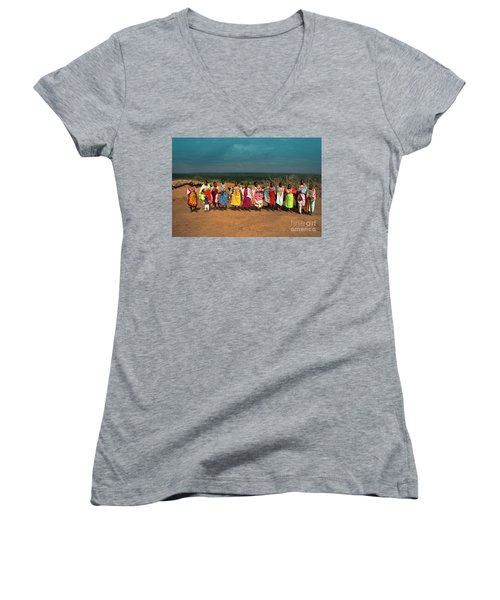 Women's V-Neck T-Shirt (Junior Cut) featuring the photograph Colors And Faces Of The Masai Mara by Karen Lewis