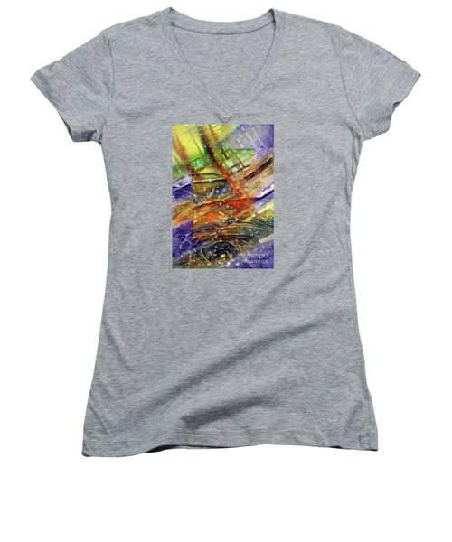 Colors Interrupting Women's V-Neck T-Shirt (Junior Cut)
