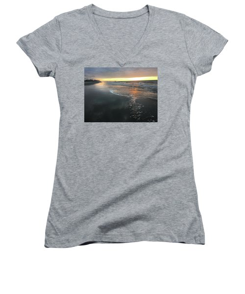 Colors Of A Storm At Sunrise Women's V-Neck T-Shirt (Junior Cut) by Kelly Hazel