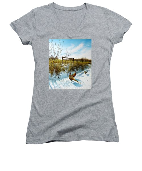 Colors Of Winter - Pheasants Women's V-Neck
