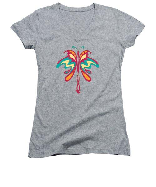 Colourful Art Nouveau Butterfly Women's V-Neck T-Shirt