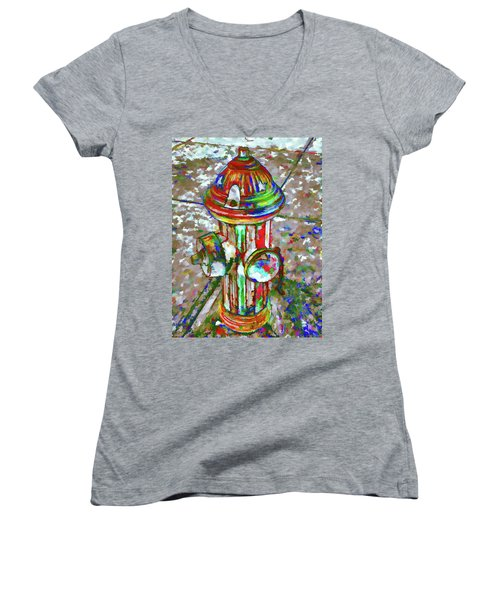 Colourful Hydrant Women's V-Neck (Athletic Fit)