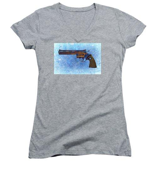 Colt Python 357 Mag On Blue Background. Women's V-Neck (Athletic Fit)
