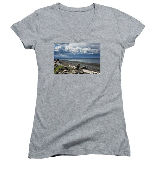 Columbia Beach Women's V-Neck T-Shirt (Junior Cut) by Randy Hall
