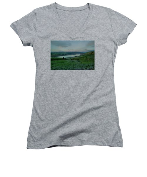 Women's V-Neck T-Shirt (Junior Cut) featuring the photograph Columbia Gorge In Early Spring by Jeff Swan