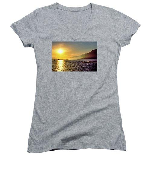 Columbia River 001 Women's V-Neck T-Shirt (Junior Cut) by Scott McAllister