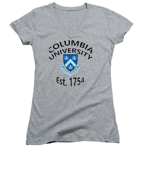 Women's V-Neck T-Shirt (Junior Cut) featuring the digital art Columbia University Est 1754 by Movie Poster Prints