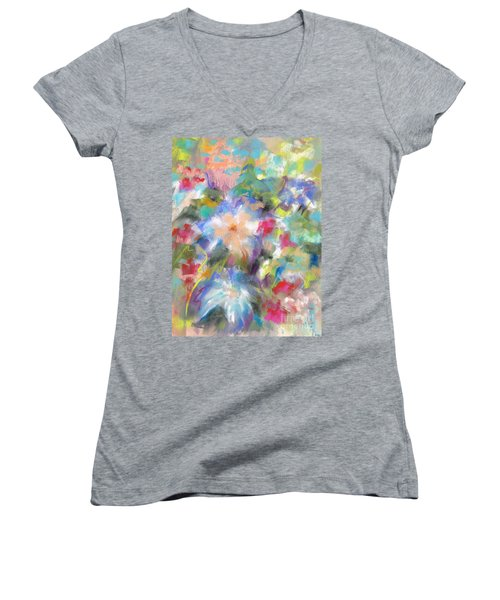Columbine In The Wildflowers Women's V-Neck T-Shirt (Junior Cut) by Frances Marino