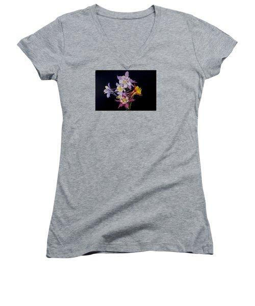 Women's V-Neck T-Shirt (Junior Cut) featuring the photograph Columbine Medley by Gary Lengyel