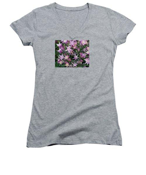 Women's V-Neck T-Shirt (Junior Cut) featuring the photograph Columbine Splendor by Lynda Lehmann
