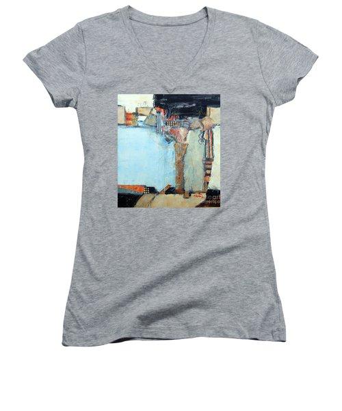 Columns Women's V-Neck T-Shirt (Junior Cut) by Ron Stephens