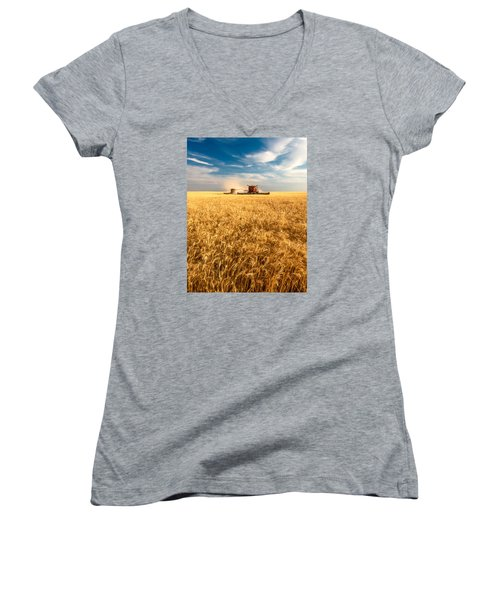 Combines Cutting Wheat Women's V-Neck
