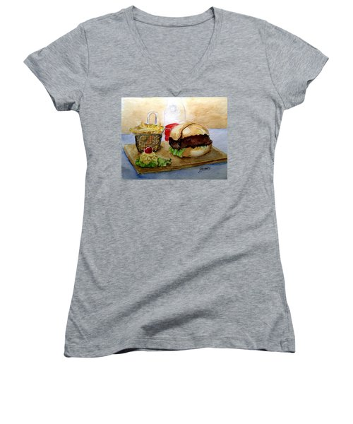Come And Get It Dinner Is Ready Women's V-Neck T-Shirt (Junior Cut) by Carol Grimes