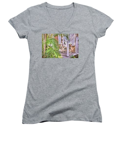 Come And Sit Awhile Women's V-Neck T-Shirt